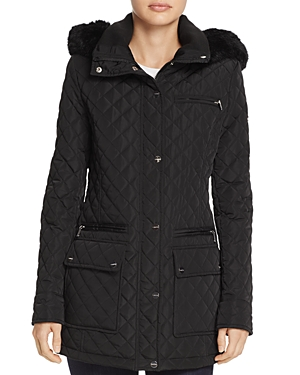 Calvin Klein Faux Fur Trim Quilted Coat