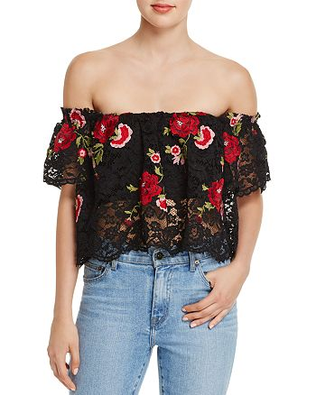 Olivaceous - Embroidered Lace Off-the-Shoulder Top