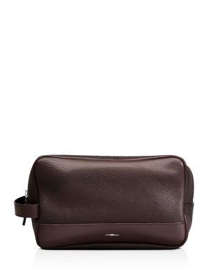 Men'S Leather Zip-Top Travel Kit, Deep Brown