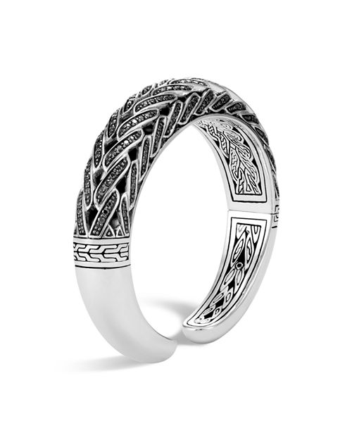 John Hardy - Sterling Silver Classic Chain Small Graduated Kick Cuff with Black Sapphire & Black Spinel, 14.5mm