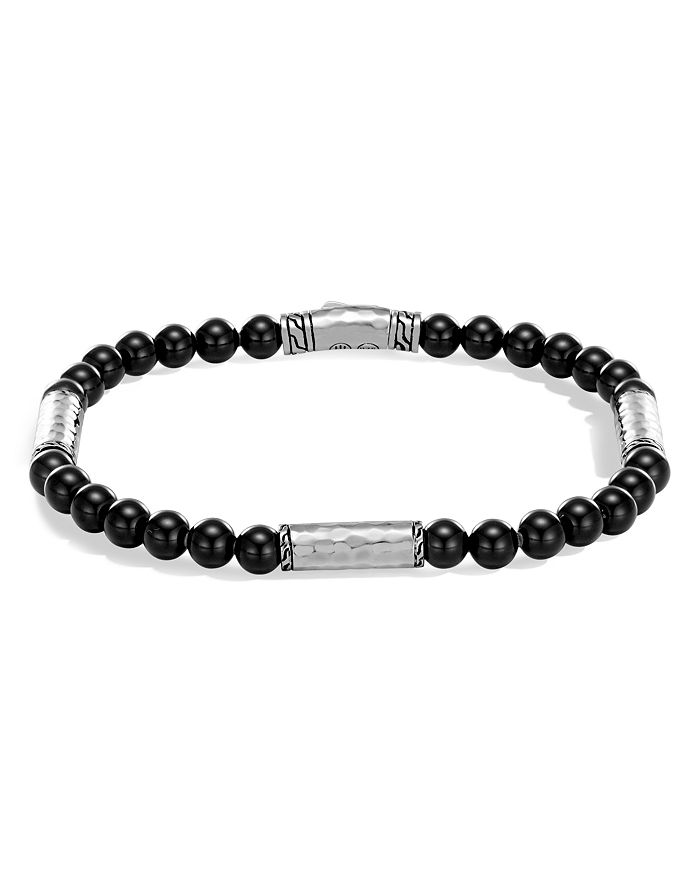 JOHN HARDY - Men's Hammered Sterling Silver Classic Chain Station and Black Onyx Bead Bracelet