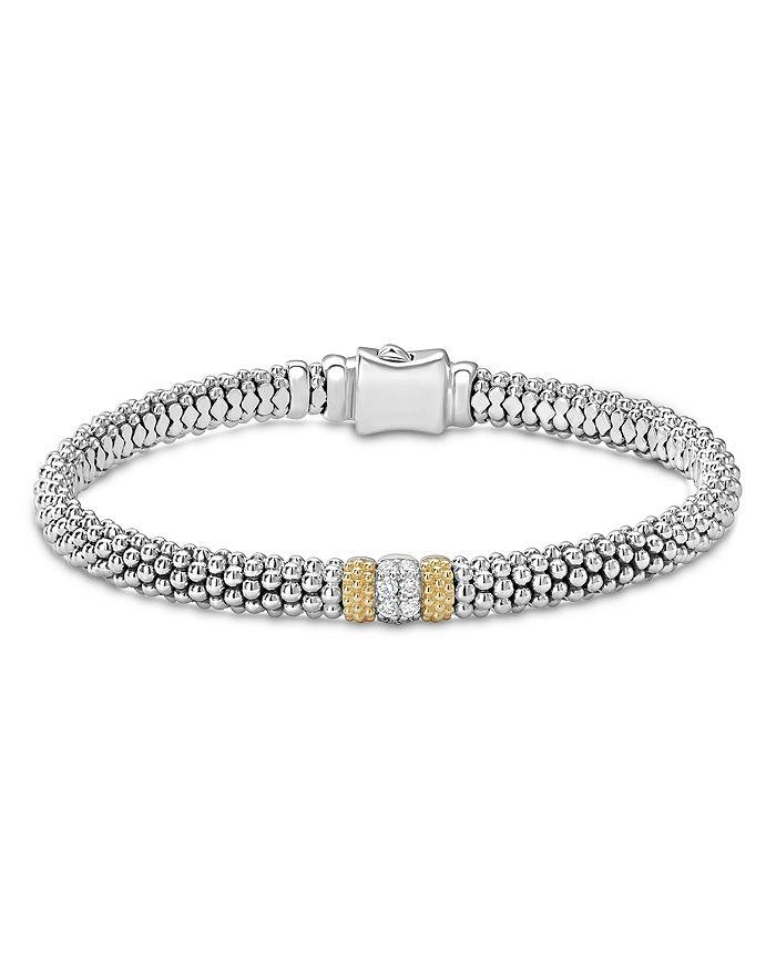 LAGOS - 18K Gold & Sterling Silver Diamond Lux Single Station Bracelet, 6mm