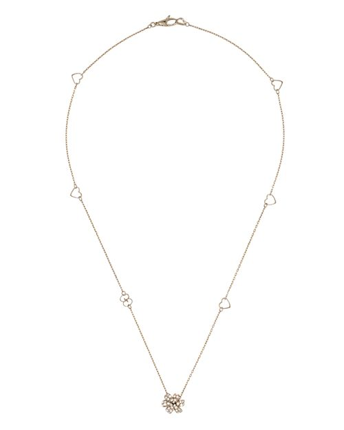 Gucci - 18K White Gold Flora Necklace with Diamond & Mother-of-Pearl, 16.5""