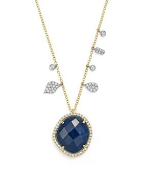 "Meira T - 14K White & Yellow Gold Sapphire & Diamond Pendant Necklace, 18"""