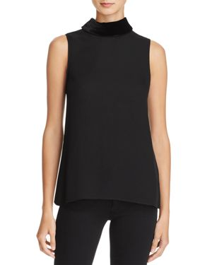 Theory Velvet Collar Silk Top - 100% Exclusive