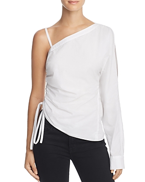 T by Alexander Wang One-Sleeve Washed Poplin Top