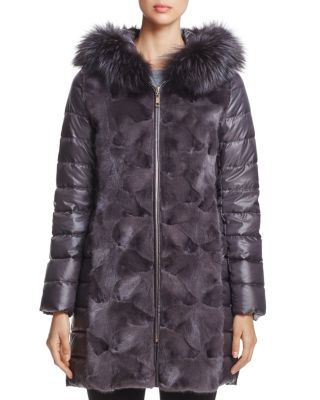 MINK FUR TRIM DOWN COAT WITH FOX FUR HOOD