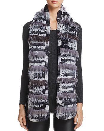 Maximilian Furs - Fox Fur-Inset Rabbit Fur Knit Scarf - 100% Exclusive