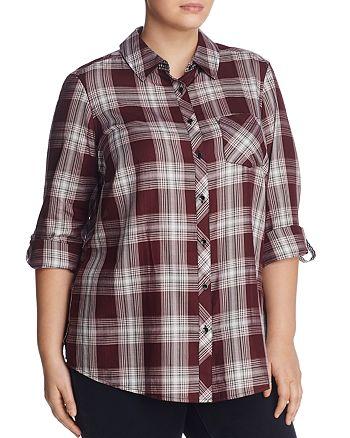 Foxcroft Plus - Addison Rose Plaid Shirt