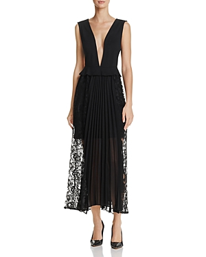 French Connection Angelina Deep-v Pleated Lace Maxi Dress