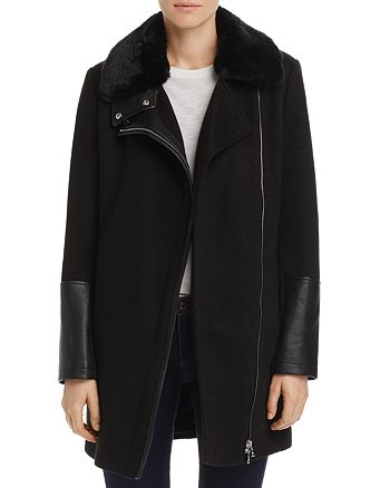 AQUA - Faux Fur-Collar Coat - 100% Exclusive