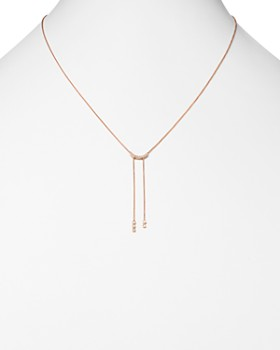 "Dana Rebecca Designs - 14K Rose Gold Lulu Jack Curved Diamond Drop Necklace, 18"""
