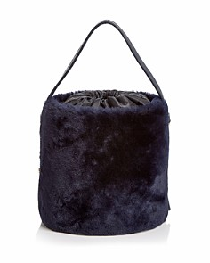 Arron - Small Shearling & Leather Bucket Bag