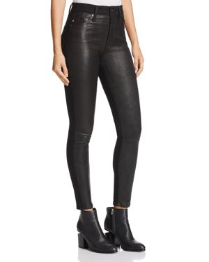 Ag Farrah Leather-Front Skinny Jeans in Leather Super Black 2726763