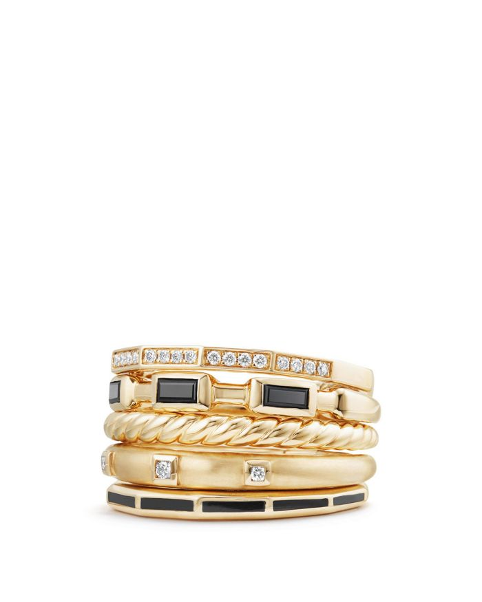 David Yurman Stax Color Ring with Black Spinel, Black Enamel & Diamonds in 18K Gold    Bloomingdale's
