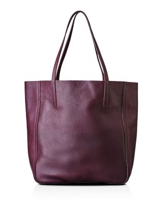 MEDIUM LEATHER SHOPPER - PURPLE