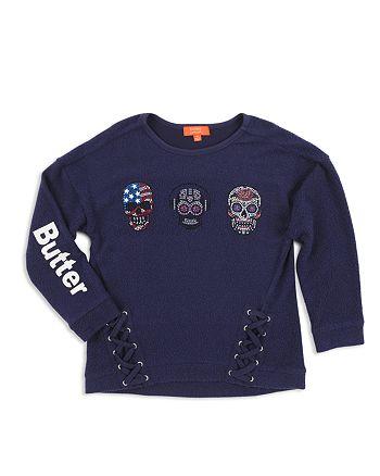 Butter - Girls' Rhinestone-Skulls Sweatshirt - Big Kid