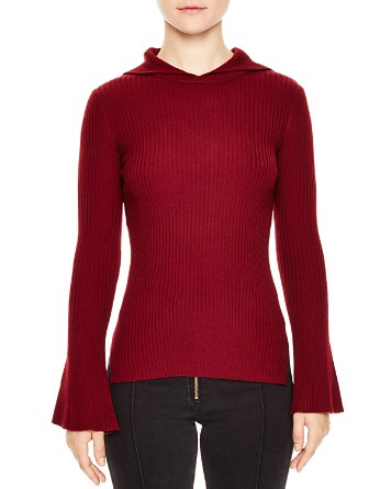 $Sandro Detroit Hooded Ribbed-Knit Sweater - Bloomingdale's