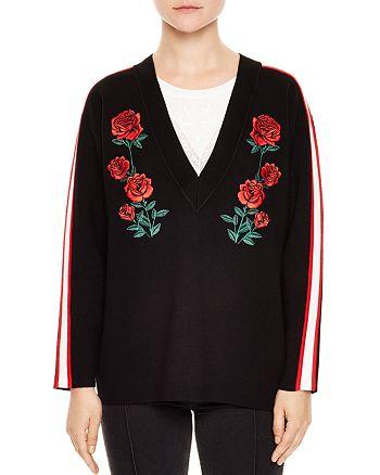 Sandro - Indira Rose-Embroidered Sweater