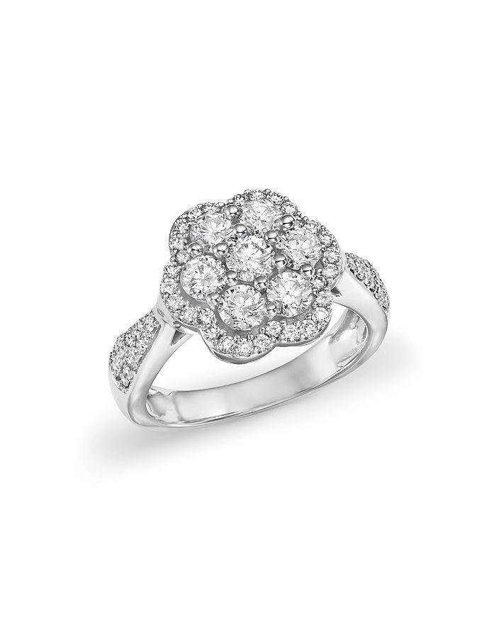 Bloomingdale's - Diamond Flower Statement Ring in 14K White Gold, 1.50 ct. t.w. - 100% Exclusive