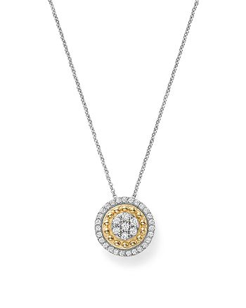 Bloomingdale's - Diamond Cluster Beaded Halo Pendant Necklace in 14K White & Yellow Gold, .25 ct. t.w. - 100% Exclusive