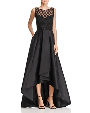 Adrianna Papell Beaded-Bodice High/Low Gown