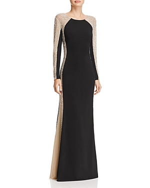 Beaded Color-Blocked Gown