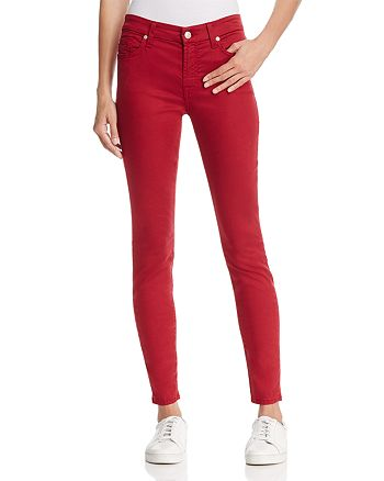 7 For All Mankind - B(air) Skinny Ankle Jeans in Oxblood