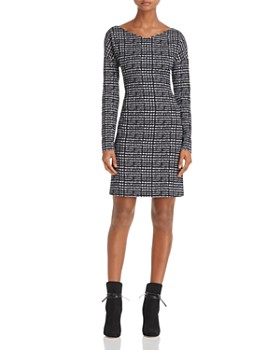 Theory - Checked V-Neck Sheath Dress - 100% Exclusive