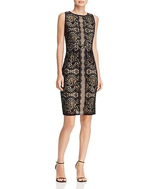 Adrianna Papell Flocked Lace Sheath Dress