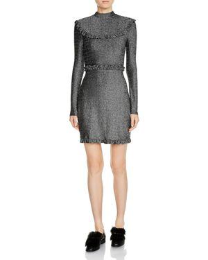 Maje Rister Metallic Sparkle Mini Dress