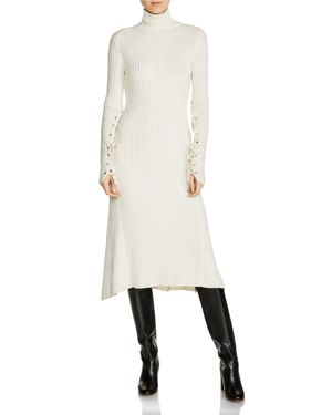 Maje Rafaela Ribbed Knit Lace-Up Sleeve Midi Dress