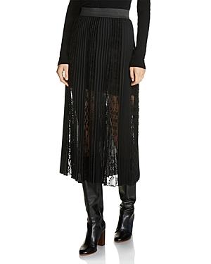 Maje Jerky Lace-Overlay Pleated Midi Skirt