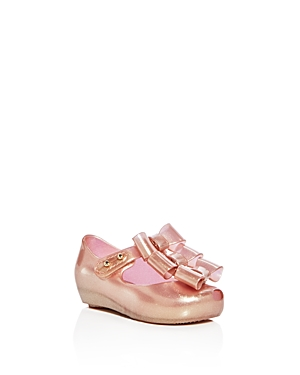 Mini Melissa Girls' Ultragirl Triple Bow Waterproof Mary Jane Flats - Walker, Toddler
