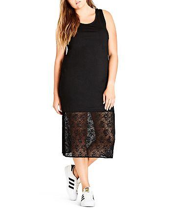 City Chic Plus - Lace-Hem Dress