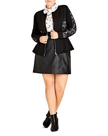 City Chic Plus - Lace Inset Jacket