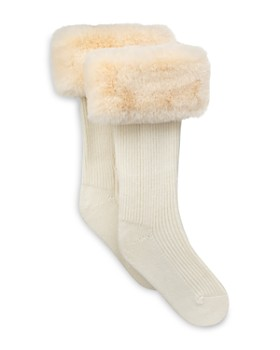 UGG® - Rib Knit Socks with Faux Fur Cuffs