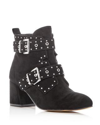 Logan Buckle Block Heel Ankle Boots