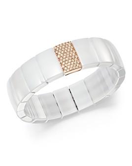 Roberto Demeglio - 18K Rose Gold & White Ceramic Domino Rectangular Stretch Bracelet with Diamonds