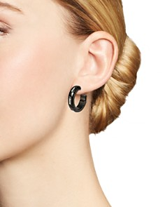 Roberto Demeglio - 18K White Gold & Black Ceramic Pura Alternating Diamond Hoop Earrings