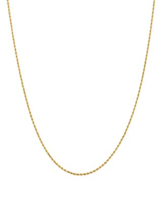 """14K Yellow Gold 1.5mm Diamond Cut Rope Chain Necklace, 16"""" - 100% Exclusive"""