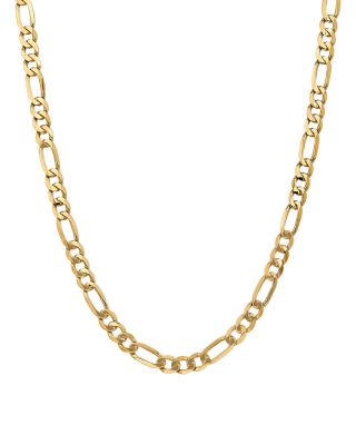 """14K Yellow Gold 7mm Flat Figaro Chain Necklace, 20"""" - 100% Exclusive"""