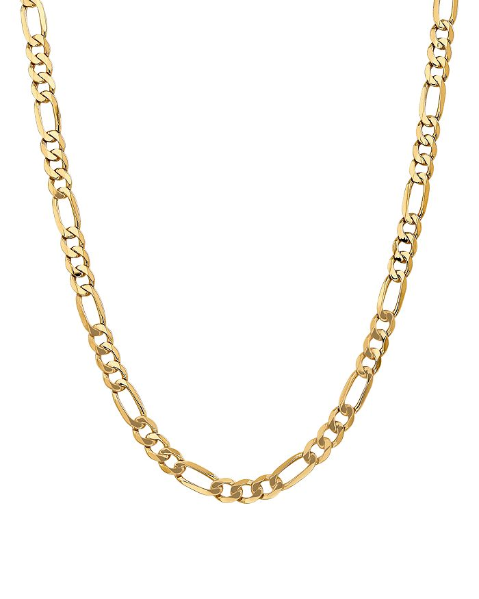 BLOOMINGDALE'S 14K YELLOW GOLD 7MM FLAT FIGARO CHAIN NECKLACE, 24 - 100% EXCLUSIVE