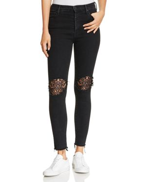 Mother Super Stunner Lace-Inset Ankle Jeans in Black Sheep