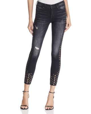 Halle Super Skinny Jeans In Rock Solid Wash in Black