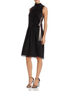 Nic+Zoe Dress Sweater-Overlay Lace-Up Dress 2729824