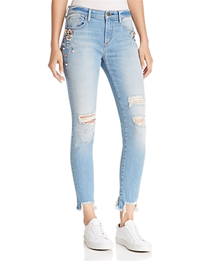 Aqua Embellished Step-Hem Jeans in Light Wash - 100% Exclusive