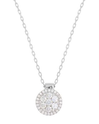18K White Gold Firenze Diamond Cluster Pendant Necklace, 16 in White/Gold