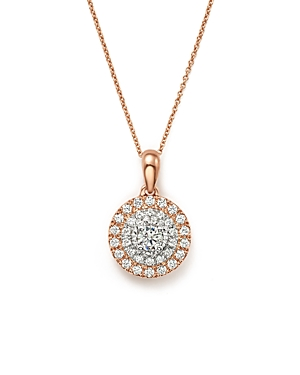 Bloomingdale's Diamond Halo Pendant Necklace in 14K White & Rose Gold, .50 ct. t.w.