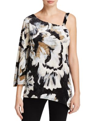 STATUS BY CHENAULT ASYMMETRIC FLORAL PRINT CRUSHED VELVET TOP